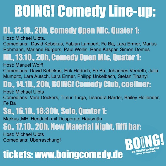 Comedy in Köln. BOING! Comedy LIne-up